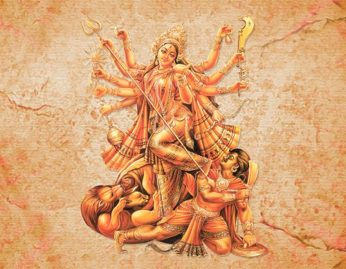 Goddess Durga's Victory Over The Demon Mahisasur